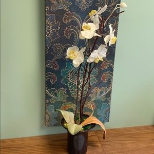 Orchid flower planter with real moss wood twigs